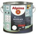 Водоразбавляемая белая эмаль для дерева и металла Alpina